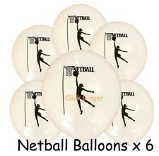 Netball Latex Balloons (x6) Helium Quality White Balloon Girls Sport Decoration