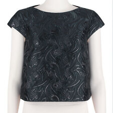 Giles Deacon Luxurious Black Embossed Capped Sleeve Cropped Top IT40 UK8