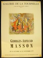 Affiche exposition Georges-Armand Masson Galerie de la Tournelle 26 oct 1972