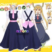 Anime Miss Kobayashi's Dragon Maid Tohru Long Dress Cosplay Costumes Uniform