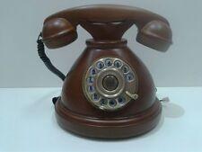 TELEFONO STILE ANTICO LEGNO NOCE RIFINITURE IN METALLO BRONZATO FUNZIONANTE