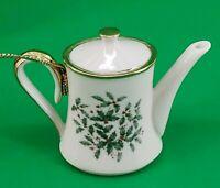 "Lenox Holiday Teapot Ornament Christmas Holly in Box #6026587 2.5"""
