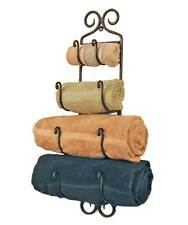 Small Adirondack Towel Linen Rack Wrought Iron Rustic Primitive Bathroom Decor