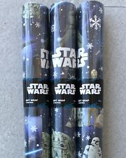 12M STAR WARS CHRISTMAS WRAPPING PAPER - HALLMARK 3X 4M ROLLS -HARD POSTAL TUBE