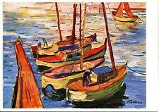 Alte Kunstpostkarte - Albert Feßler - Boote im Mittelmeer