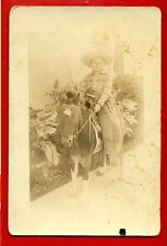 BOY COWBOY SITTING ON A DONKEY VINTAGE  PHOTO 3473