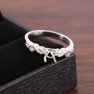 Semi Mount Ring 925 Sterling Silver Jewelry Stone Setting Size 5X5 MM Round Shap