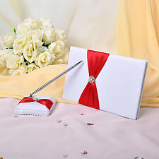 GB03 Rhinestone Bow Wedding Guest Book & Pen & knot Set