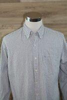 IZOD Saltwater Blue & Gray Check Men's Button Down Shirt Long Sleeve - SIze LG