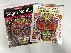 Lot of 2 Adult Coloring Books Sugar Skulls; Day Of The Dead