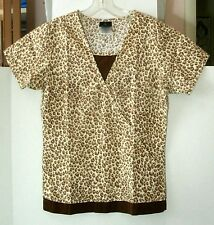 Baby Phat Women's Scrub Top Leopard Print Short Sleeves 26876 Sz XS Extra Small