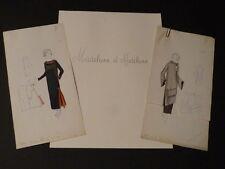 EXCEPTIONNEL 3 DESSINS ORIGINAUX MODE HAUTE COUTURE 1920 MADELEINE & MADELEINE
