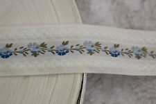 """$1 yard cream off white ombre blue olive floral woven satin ribbon 1.25"""" wide"""