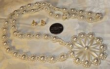 """VTG WHITE FAUX PEARL HAND-CRAFTED PENDANT  NECKLACE 34""""+STUD POSTS PRETTY DESIGN"""