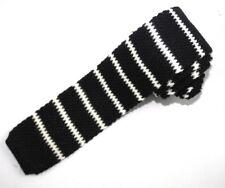 New SANTOSTEFANO Italy Black White Stripe Flat 100% Wool Square Knit Tie $250!