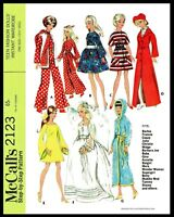 McCall's 2123 BARBIE Vintage Fashion Doll Fabric Sewing Pattern Gina Babs Tammy
