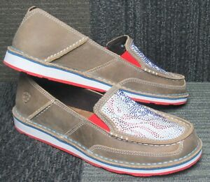 Wmns Ariat Cruiser Sequin Leather Slip On Loafers sz 9 B ~ Excellent
