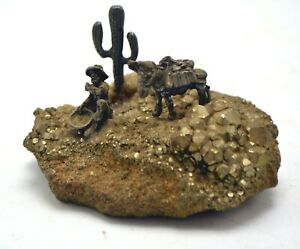 Pewter Gold Panner & Pack Mule on Pyrite Stone - Educational Mineral Gift