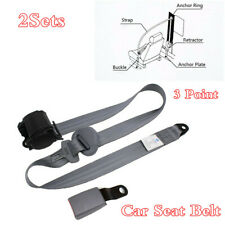 2 Sets Grey 3 Point Adjustable Car Seat Belt Iron Plate Style Nylon Safty Straps