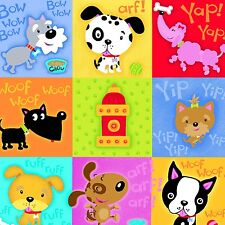 Fabric Baby Dogs Things Patchwork Squares on Flannel by the 1/4 yard BIN