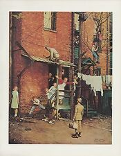 """1977 VINTAGE """"HOMECOMING G.I."""" ARMY NORMAN ROCKWELL MINI POSTER COLOR Lithograph"""