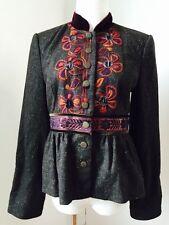 $608 CYNTHIA STEFFE Women's Brown Embroidered Wool Jacket Coat Blazer Sz 6