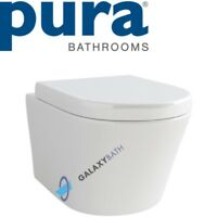 PURA BATHROOMS ARCO RIMLESS WALL HUNG TOILET PAN WITH SOFT CLOSE SEAT 2IN1 SET