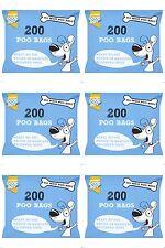 1200 DOGGY BAGS Scented Pet Pooper Scooper Dog Cat Poo Waste Toilet Poop (6X200)