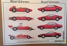Ferrari F1 World Champions 1975,76,77,79 Race&Road Winners! OWN IT! Car Poster!