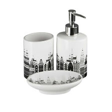 3 piezas de accesorios de baño horizonte Blanco Negro Tumbler, Jabonera, Dispensador