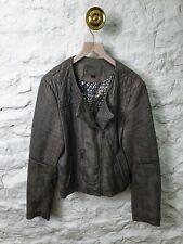 Grey Leather Jacket. Size Large. Biker Jacket. Italian Leather
