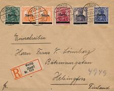 Saar Sarre Recommandé Lettre Merzig pour La Finlande 1920 Saargebiet Cover