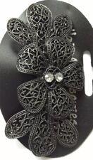 une large gris métallique Design Fleur Barrette à cheveux métal