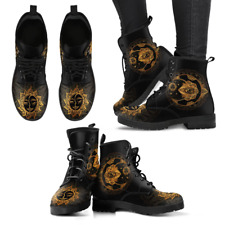 Gold Sun and Moon Womens Black Vegan Friendly Leather Woman Premium Boots