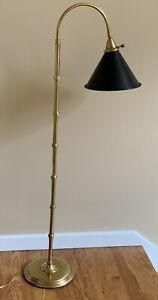 Brass Georgian Style Faux Bamboo Bridge Reading Floor Lamp Tole Shade