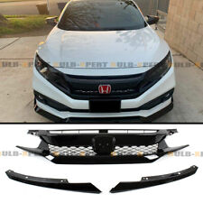 FOR 19-2020 HONDA CIVIC COUPE SEDAN FK8 TYPE-R STYLE GLOSS BLK MESH FRONT GRILLE