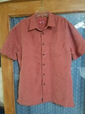 Mens WOODY'S Retro Lounge Rust Hawaiian Textured S/S Shirt Size X-Large