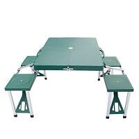 Portable Folding Camping Picnic Table Set  W/ 4 Seats Outdoor Garden Green