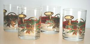 """SET OF (4) VINTAGE """"GEORGES BRIARD"""" 22KT. HOLIDAY OLD FASHIONED GLASSES"""
