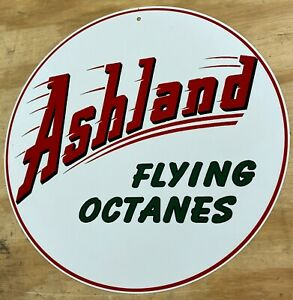 "Ashland Oil Co Flying Octanes Aluminum Metal Sign 12"""