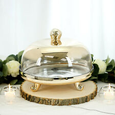 """Chrome Gold 11"""" tall Round Ombre Glass Cake Stand with Cover Wedding Decorations"""