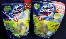 TWO MAXI PACKs Domestos Power 5 Lime Toilet Bowl Cleaner Rim blocks (10 Pack)