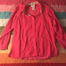 Quacker Factory Pink Corduroy Button Down Christmas Tree Shirt Sz S A221