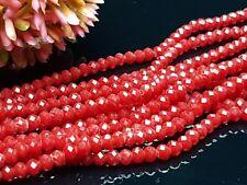 145 Glas schliff facettierte Perlen Rondelle Abakus Spacer dunkel rot 3*4 mm