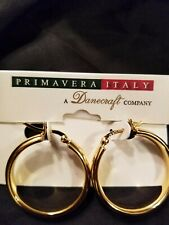 silver tube hoop earrings 24K Gold over sterling