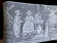 Vintage White Machine Lace Table Runner Cloth DUTCH SCENE 52x13.5 Inches