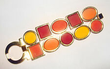 CHIC Salvatore FERRAGAMO Geometric LUCITE Red/Orange/Yellow BRACELET Italy