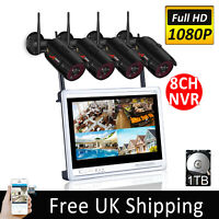 """8CH 12""""Monitor CCTV Security Camera System Wireless NVR Outdoor 1TB 1080P HD UK"""