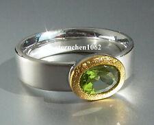 Einzelstück * Ring * 925 Silber * 24 ct Gold * Peridot oval *