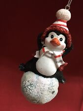 Sparkly Glitter Penguin Sitting On Snowball  Christmas Holiday Tree Ornament